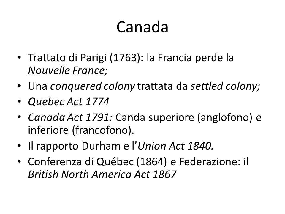 Canada Trattato di Parigi (1763): la Francia perde la Nouvelle France;