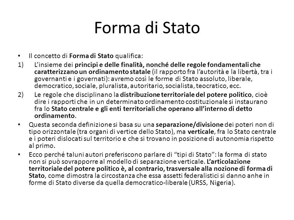 Forma di Stato Il concetto di Forma di Stato qualifica:
