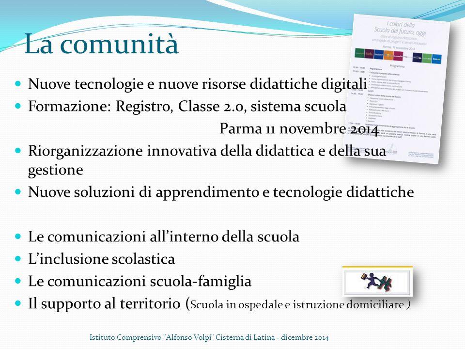 La comunità Nuove tecnologie e nuove risorse didattiche digitali