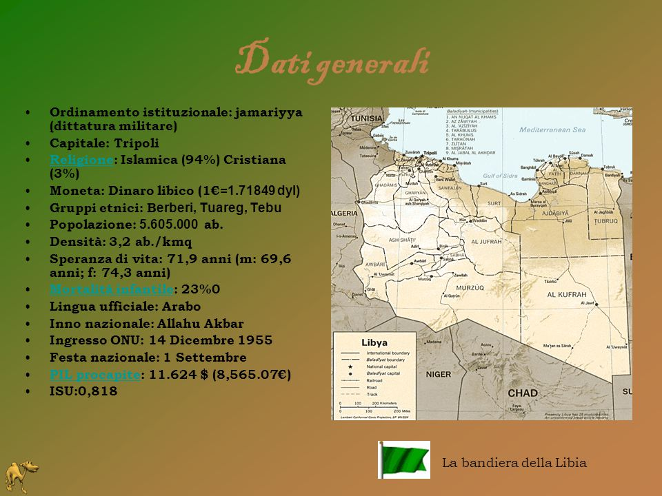 Dati generali Ordinamento istituzionale: jamariyya (dittatura militare) Capitale: Tripoli. Religione: Islamica (94%) Cristiana (3%)