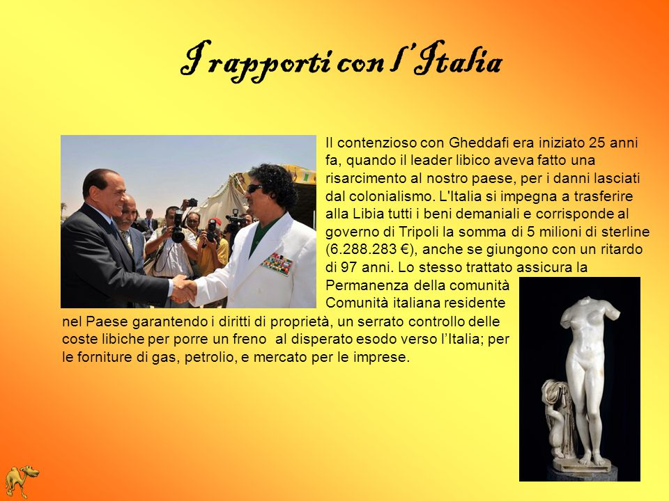 I rapporti con l'Italia
