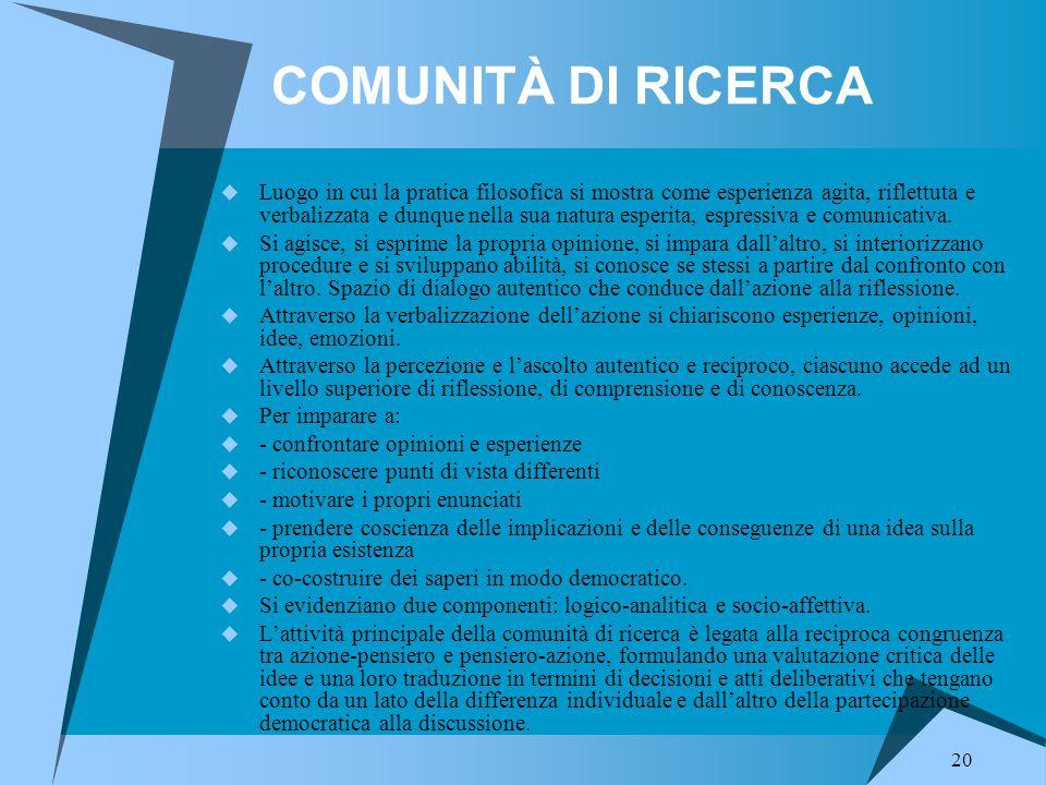 COMUNITÀ DI RICERCA