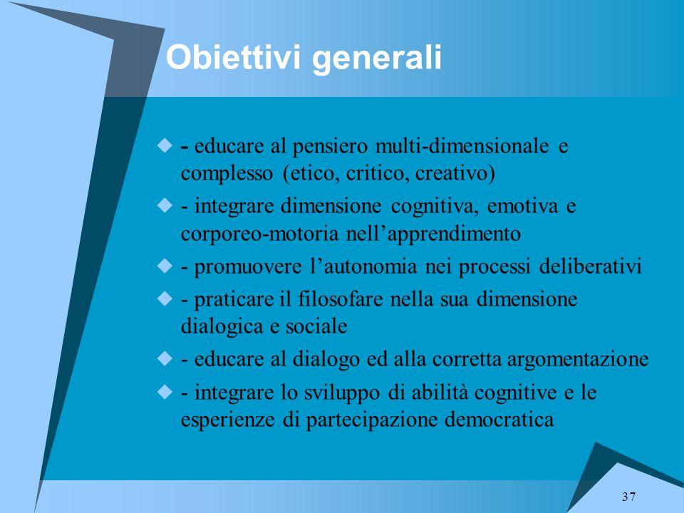 Obiettivi generali - educare al pensiero multi-dimensionale e complesso (etico, critico, creativo)