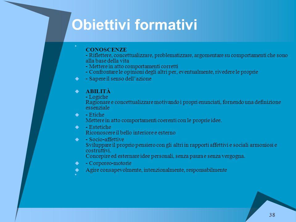 Obiettivi formativi - Sapere il senso dell'azione