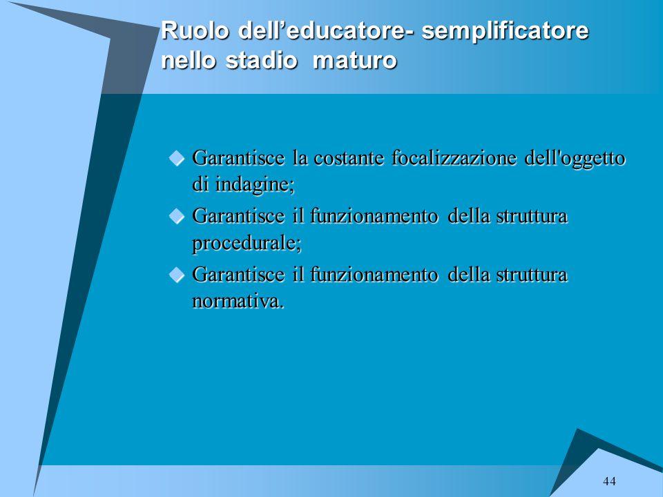Ruolo dell'educatore- semplificatore nello stadio maturo