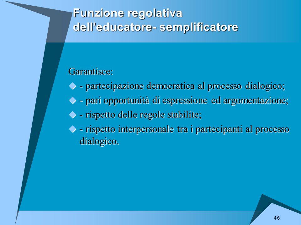 Funzione regolativa dell'educatore- semplificatore