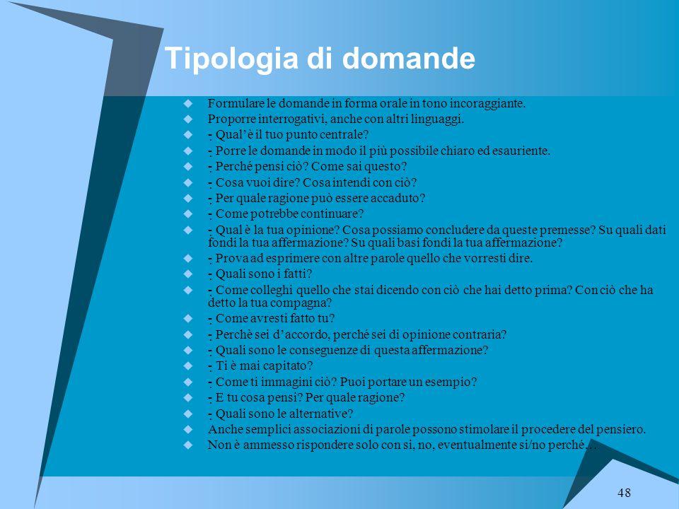 Tipologia di domande Formulare le domande in forma orale in tono incoraggiante. Proporre interrogativi, anche con altri linguaggi.