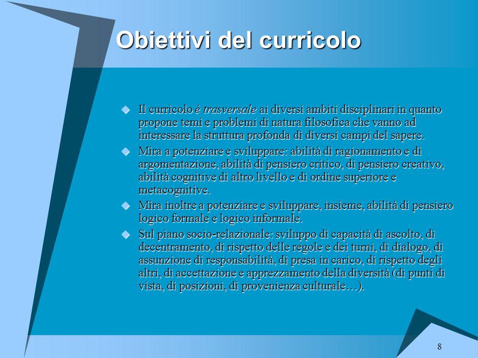 Obiettivi del curricolo
