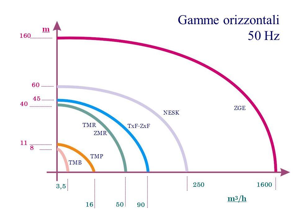Gamme orizzontali 50 Hz m m3/h 160 60 45 40 11 8 3,5 250 1600 16 50 90
