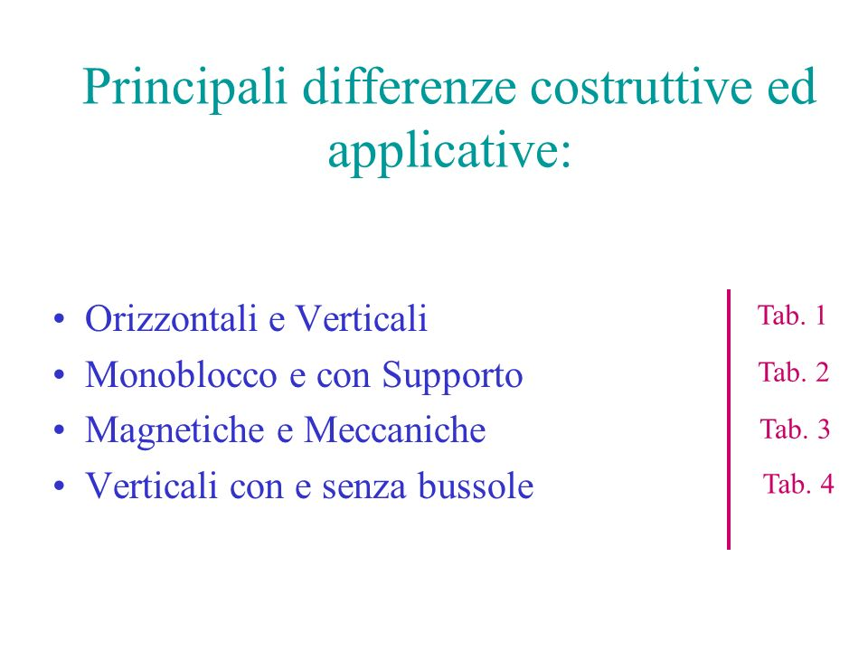 Principali differenze costruttive ed applicative: