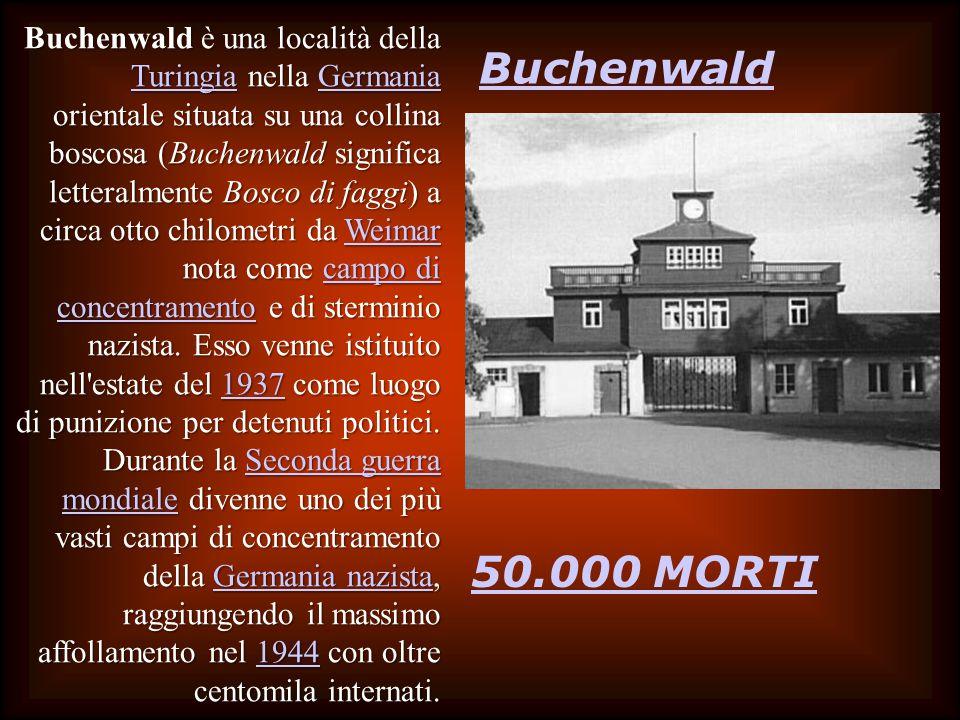 Buchenwald è una località della Turingia nella Germania orientale situata su una collina boscosa (Buchenwald significa letteralmente Bosco di faggi) a circa otto chilometri da Weimar nota come campo di concentramento e di sterminio nazista. Esso venne istituito nell estate del 1937 come luogo di punizione per detenuti politici. Durante la Seconda guerra mondiale divenne uno dei più vasti campi di concentramento della Germania nazista, raggiungendo il massimo affollamento nel 1944 con oltre centomila internati.
