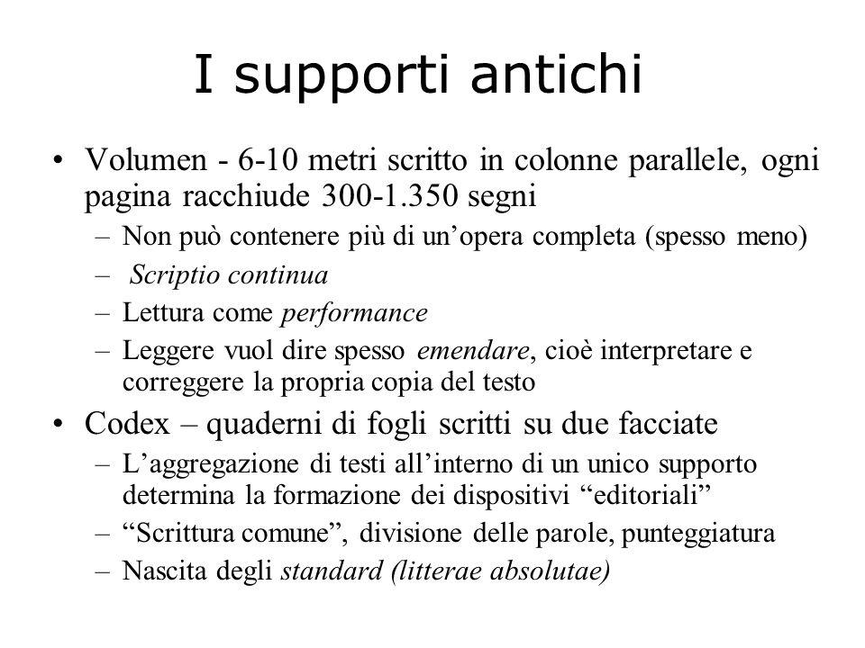 I supporti antichi Volumen - 6-10 metri scritto in colonne parallele, ogni pagina racchiude 300-1.350 segni.