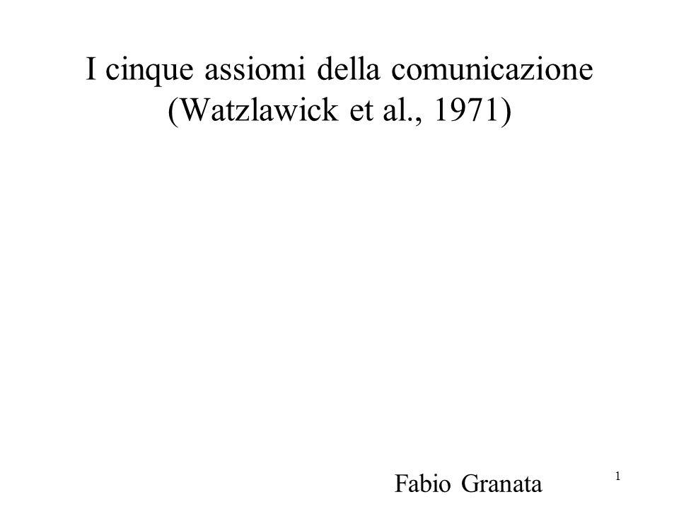 I cinque assiomi della comunicazione (Watzlawick et al., 1971)