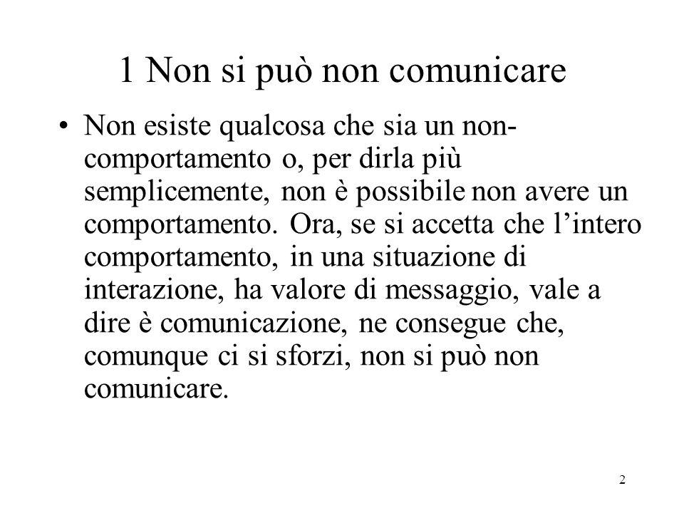 1 Non si può non comunicare