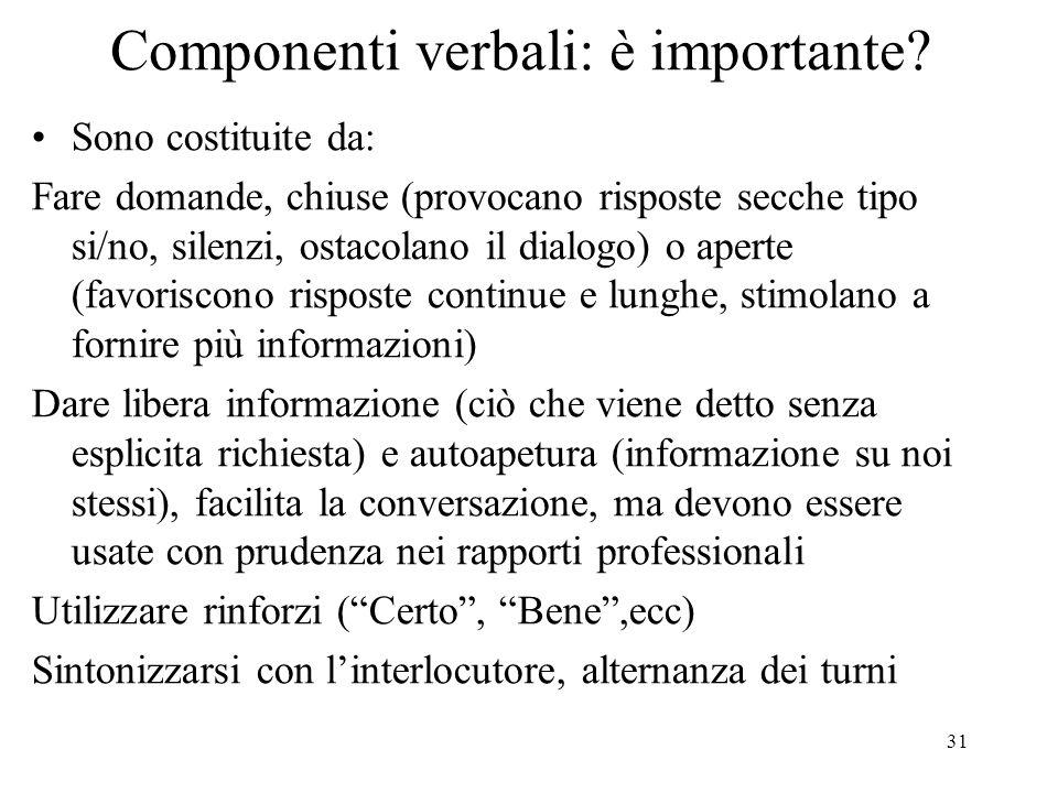 Componenti verbali: è importante