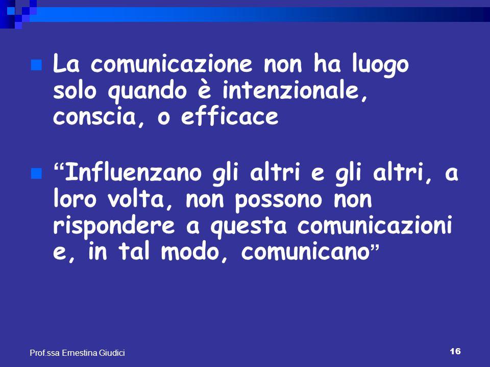 La comunicazione non ha luogo solo quando è intenzionale, conscia, o efficace