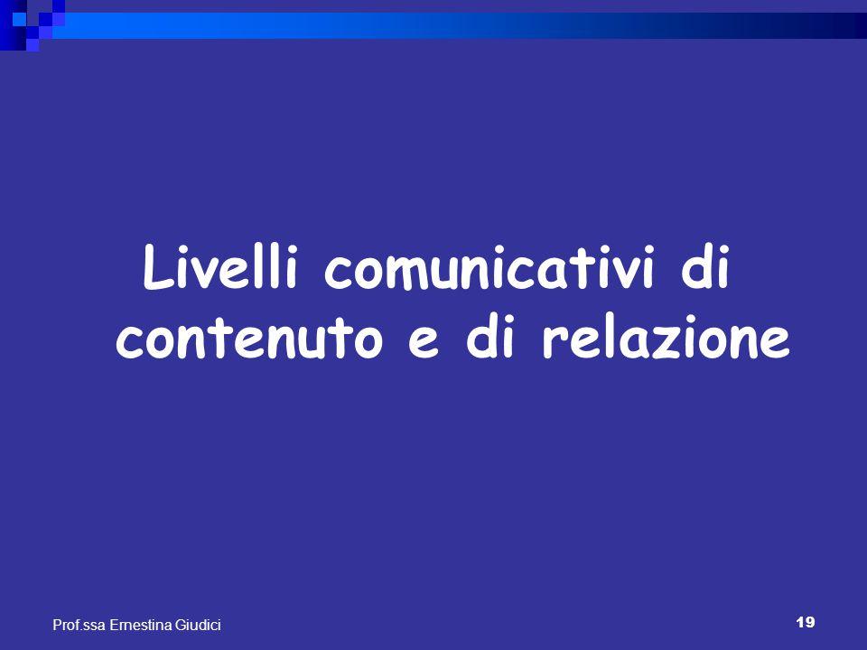 Livelli comunicativi di contenuto e di relazione