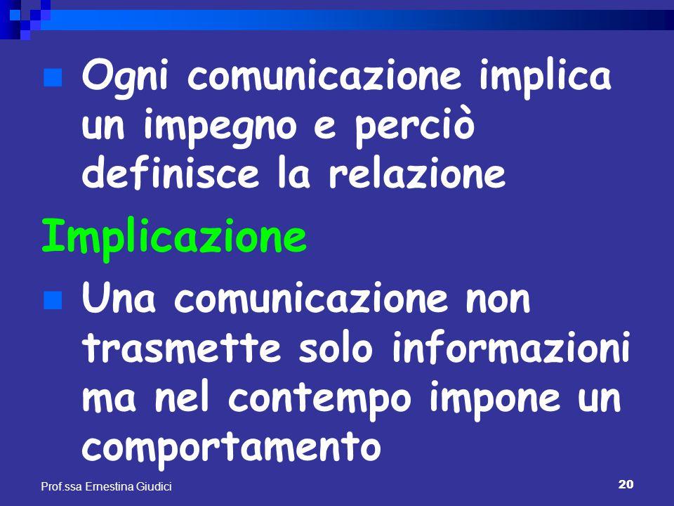 Ogni comunicazione implica un impegno e perciò definisce la relazione
