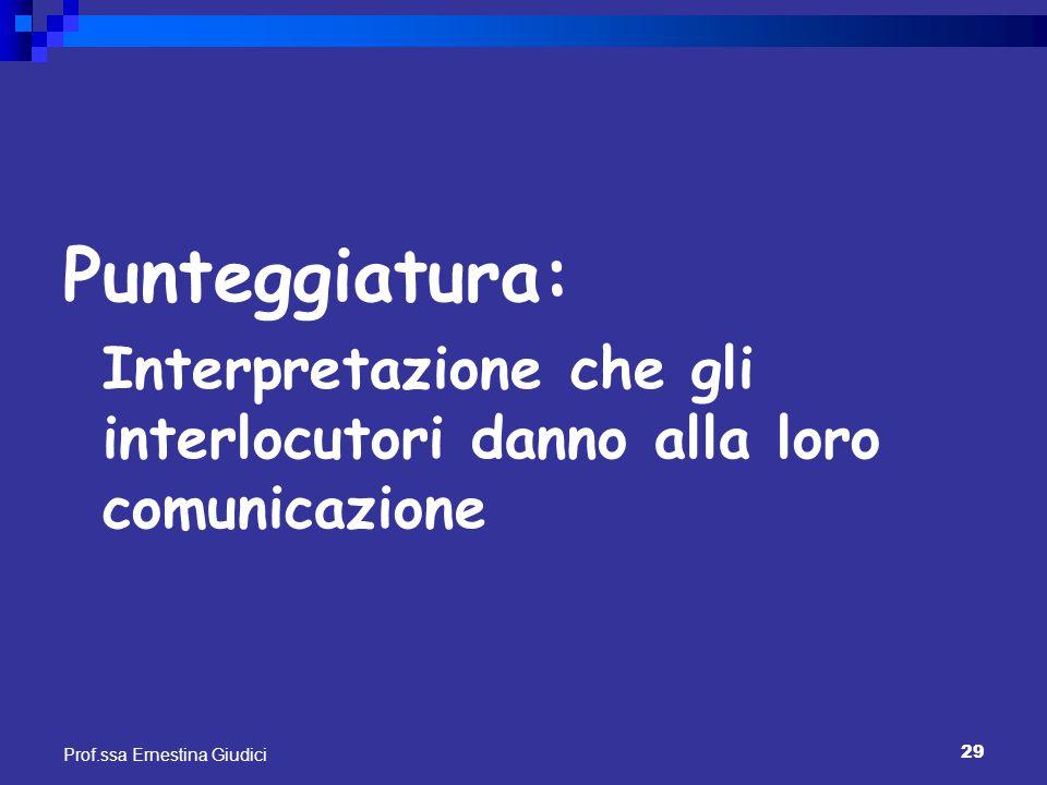 Punteggiatura: Interpretazione che gli interlocutori danno alla loro comunicazione.