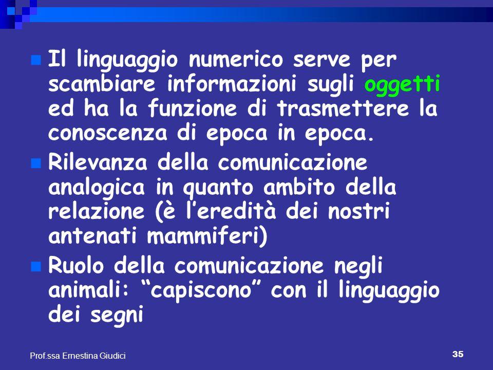 Il linguaggio numerico serve per scambiare informazioni sugli oggetti ed ha la funzione di trasmettere la conoscenza di epoca in epoca.