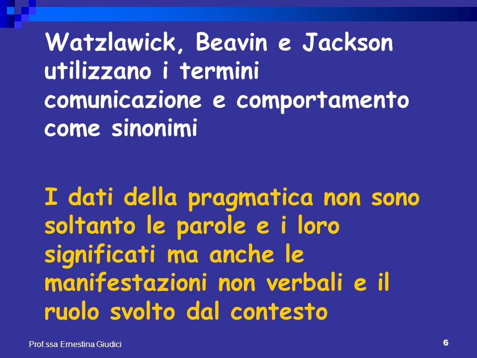 Watzlawick, Beavin e Jackson utilizzano i termini comunicazione e comportamento come sinonimi