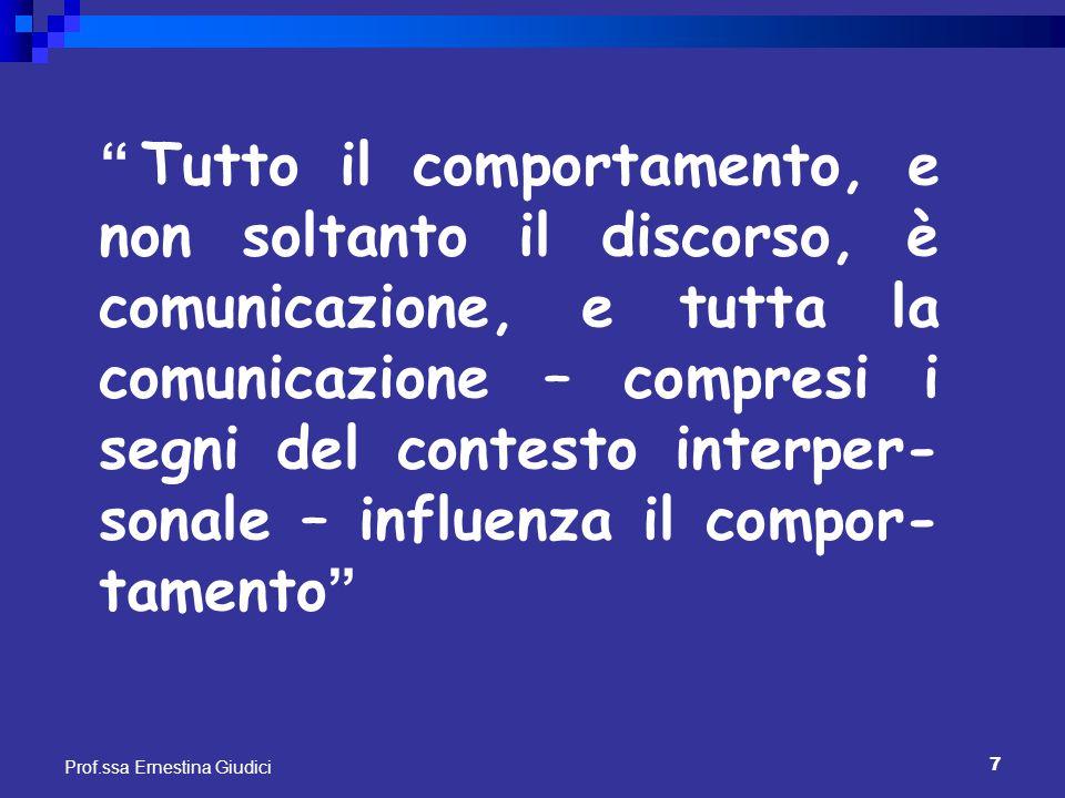 Tutto il comportamento, e non soltanto il discorso, è comunicazione, e tutta la comunicazione – compresi i segni del contesto interper-sonale – influenza il compor-tamento