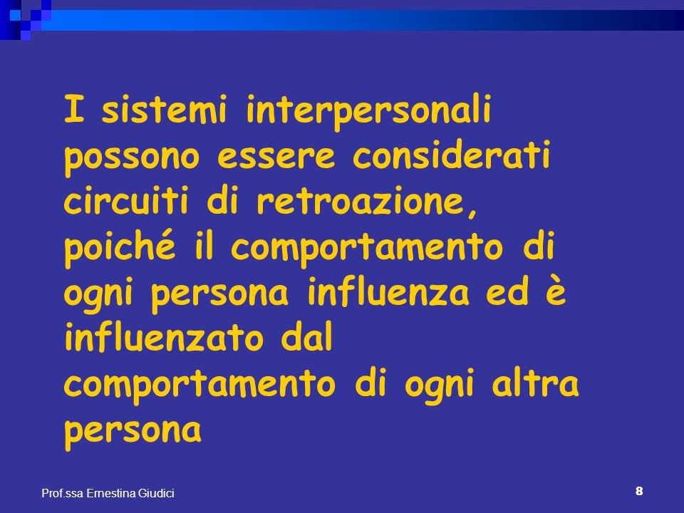 I sistemi interpersonali possono essere considerati circuiti di retroazione, poiché il comportamento di ogni persona influenza ed è influenzato dal comportamento di ogni altra persona