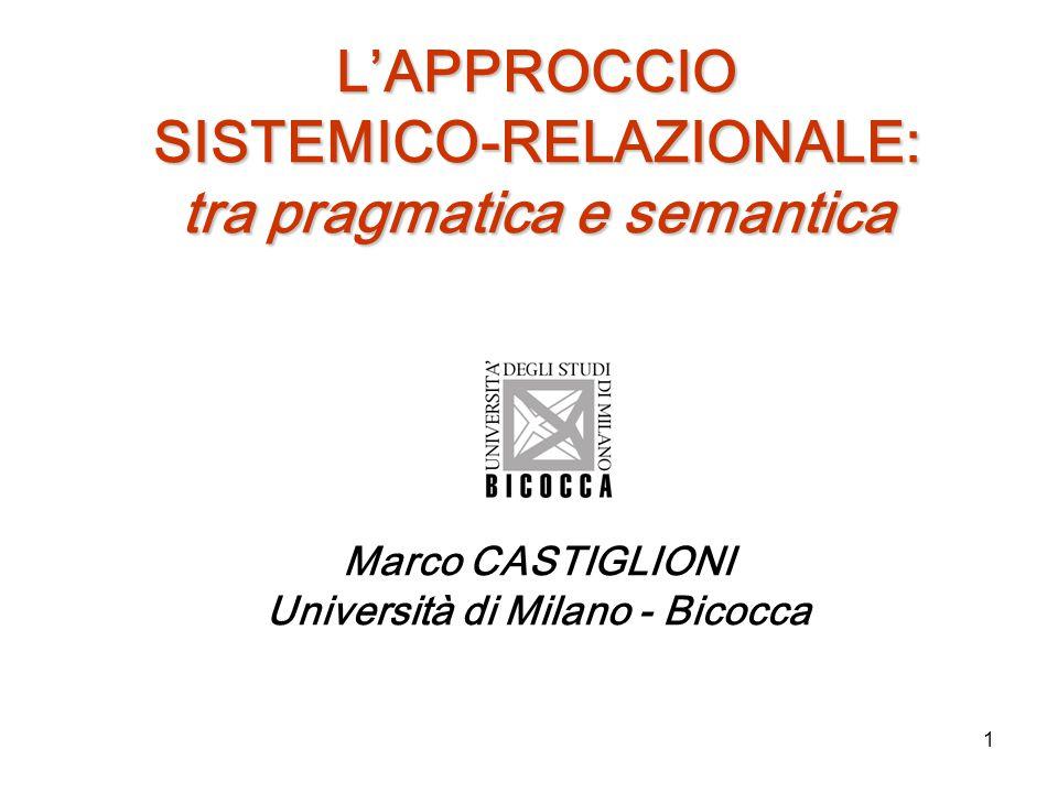 L'APPROCCIO SISTEMICO-RELAZIONALE: tra pragmatica e semantica