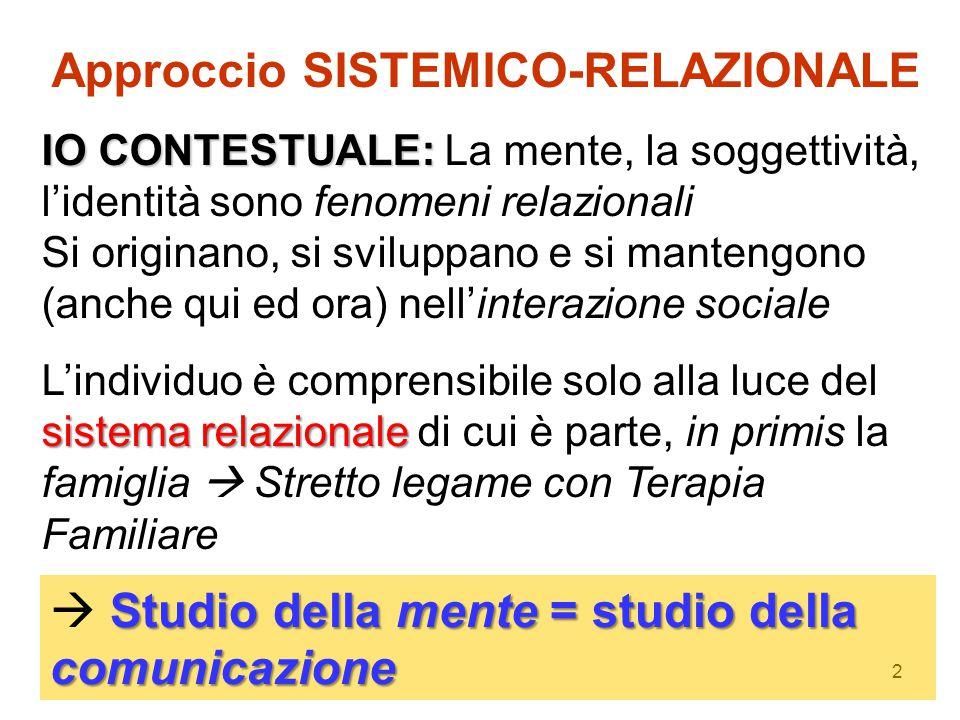 Approccio SISTEMICO-RELAZIONALE