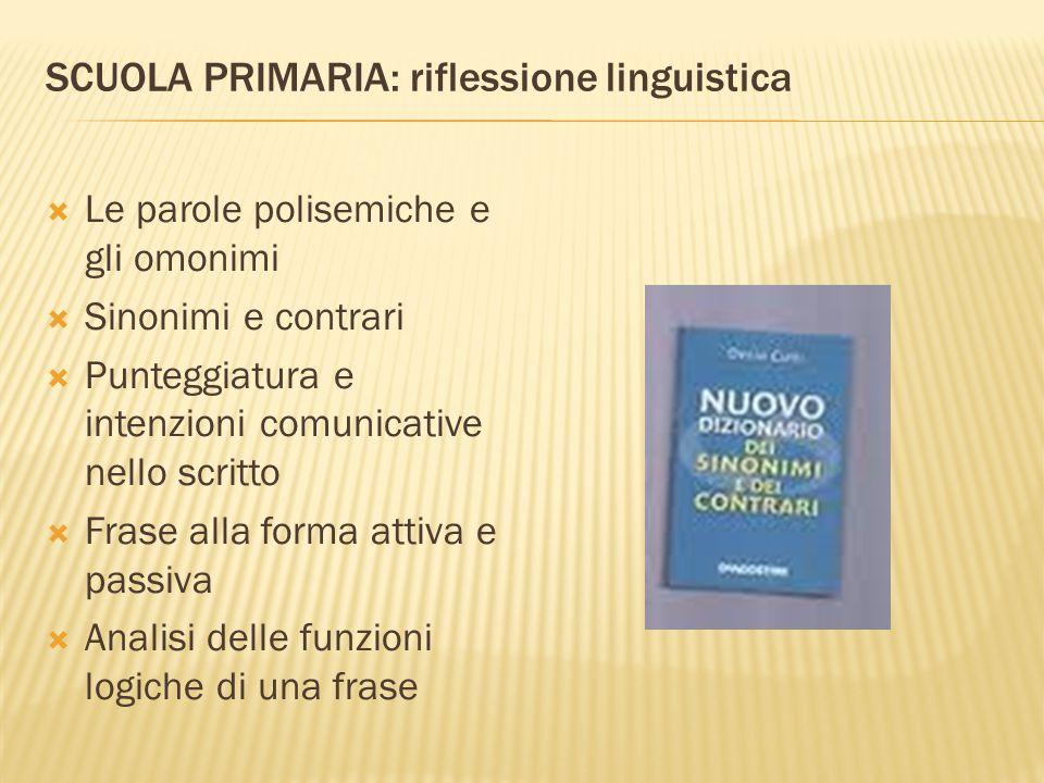 SCUOLA PRIMARIA: riflessione linguistica