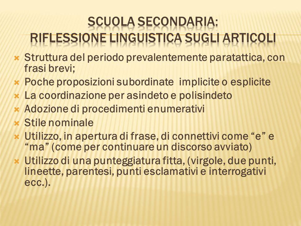 Scuola Secondaria: riflessione linguistica sugli articoli