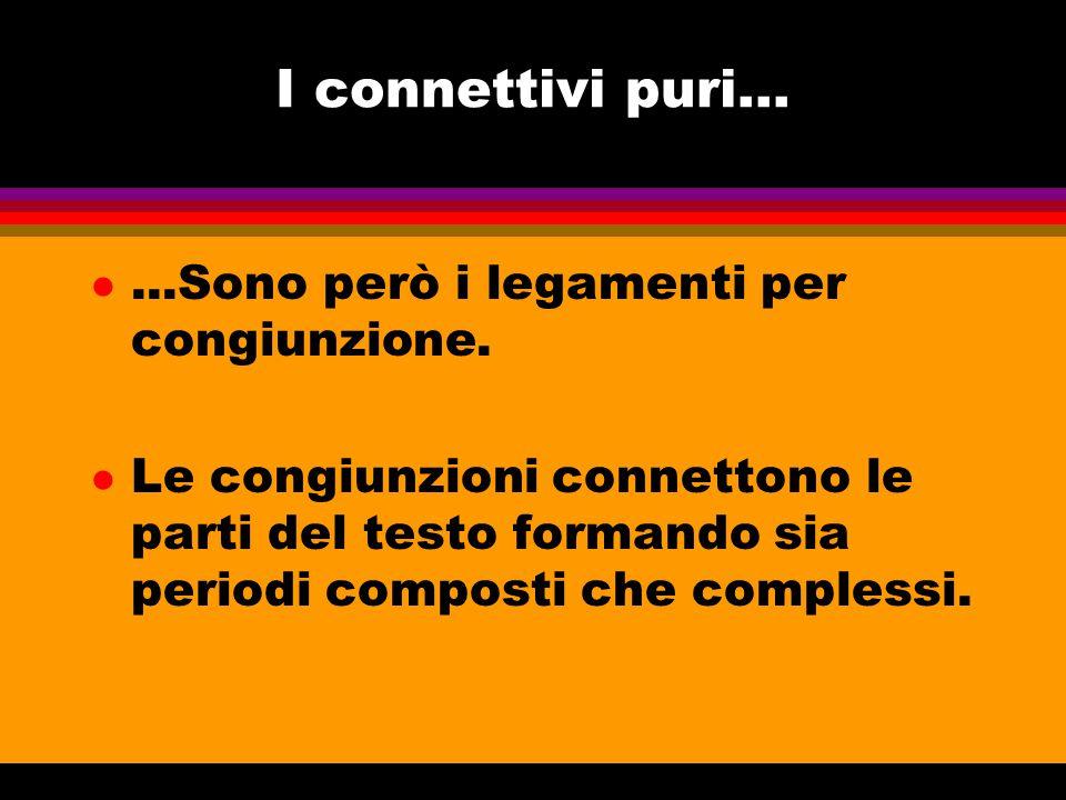 I connettivi puri... ...Sono però i legamenti per congiunzione.