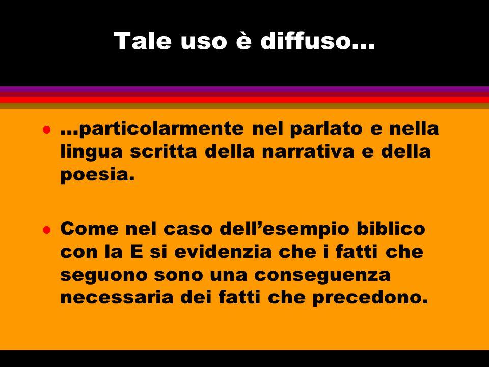 Tale uso è diffuso... …particolarmente nel parlato e nella lingua scritta della narrativa e della poesia.