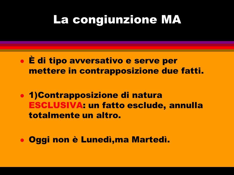 La congiunzione MA È di tipo avversativo e serve per mettere in contrapposizione due fatti.