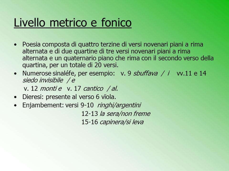 Livello metrico e fonico