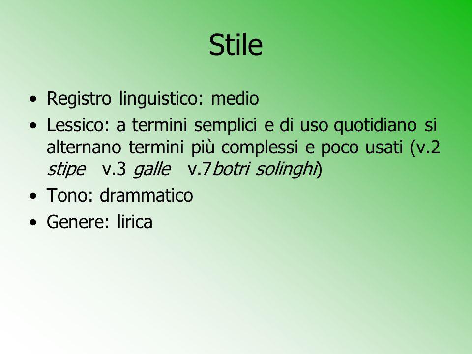 Stile Registro linguistico: medio