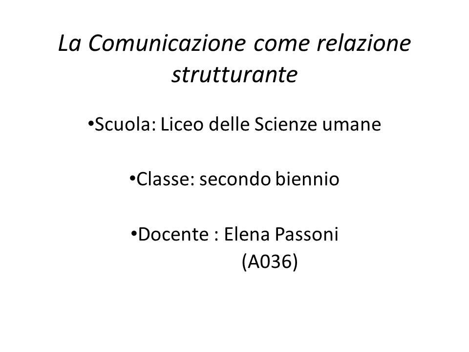La Comunicazione come relazione strutturante