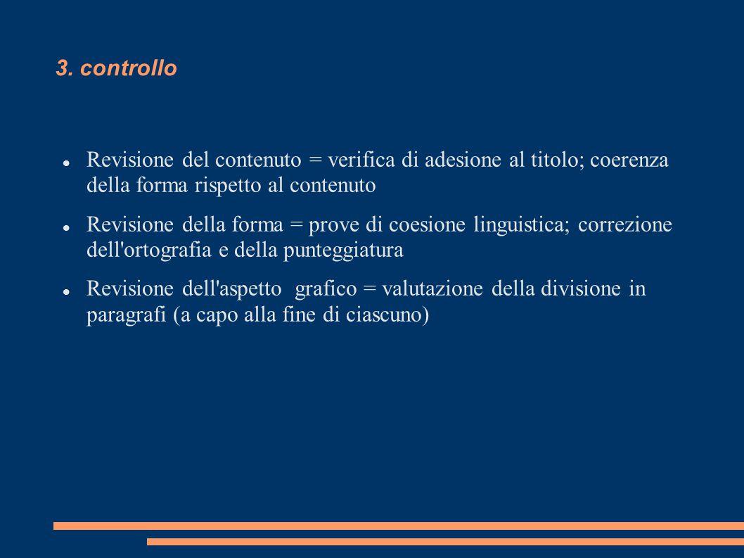 3. controllo Revisione del contenuto = verifica di adesione al titolo; coerenza della forma rispetto al contenuto.