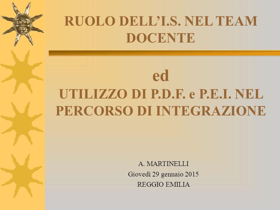 RUOLO DELL'I. S. NEL TEAM DOCENTE ed UTILIZZO DI P. D. F. e P. E. I