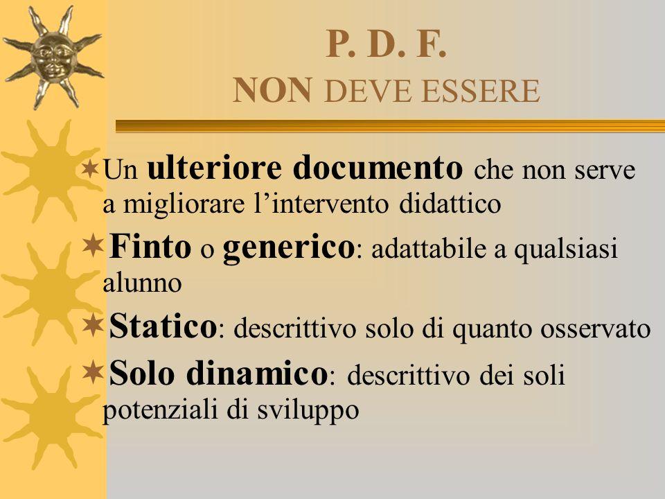 P. D. F. NON DEVE ESSERE Un ulteriore documento che non serve a migliorare l'intervento didattico.