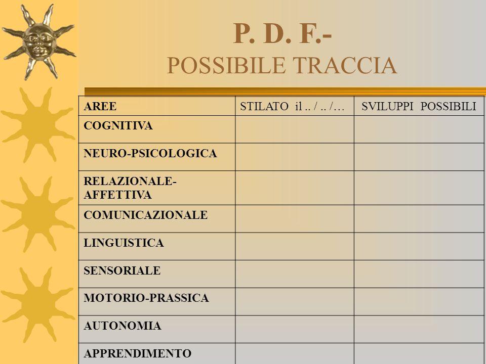 P. D. F.- POSSIBILE TRACCIA