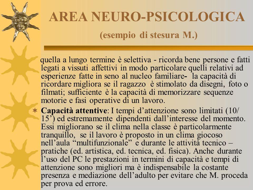 AREA NEURO-PSICOLOGICA (esempio di stesura M.)