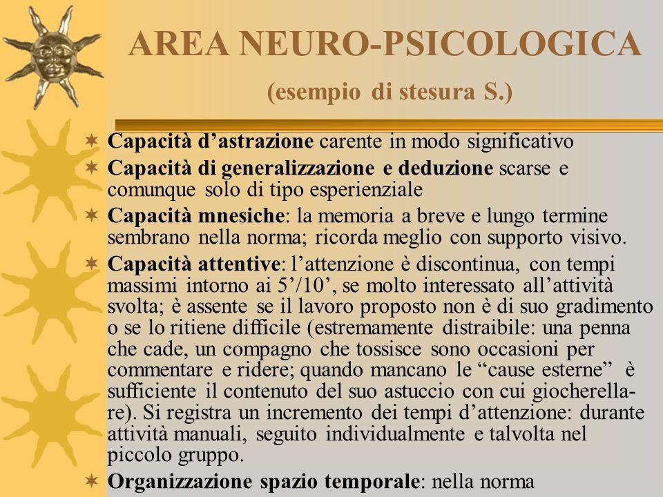 AREA NEURO-PSICOLOGICA (esempio di stesura S.)