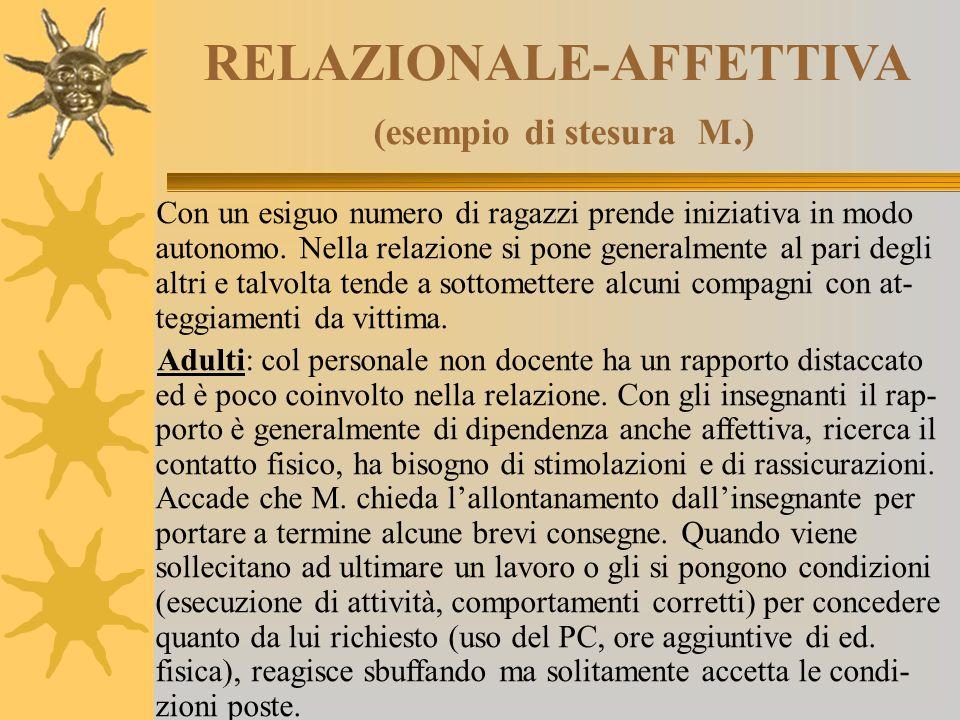RELAZIONALE-AFFETTIVA (esempio di stesura M.)