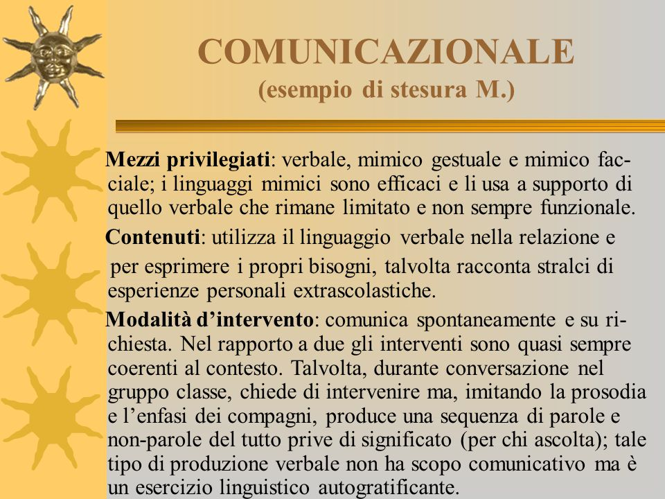 COMUNICAZIONALE (esempio di stesura M.)