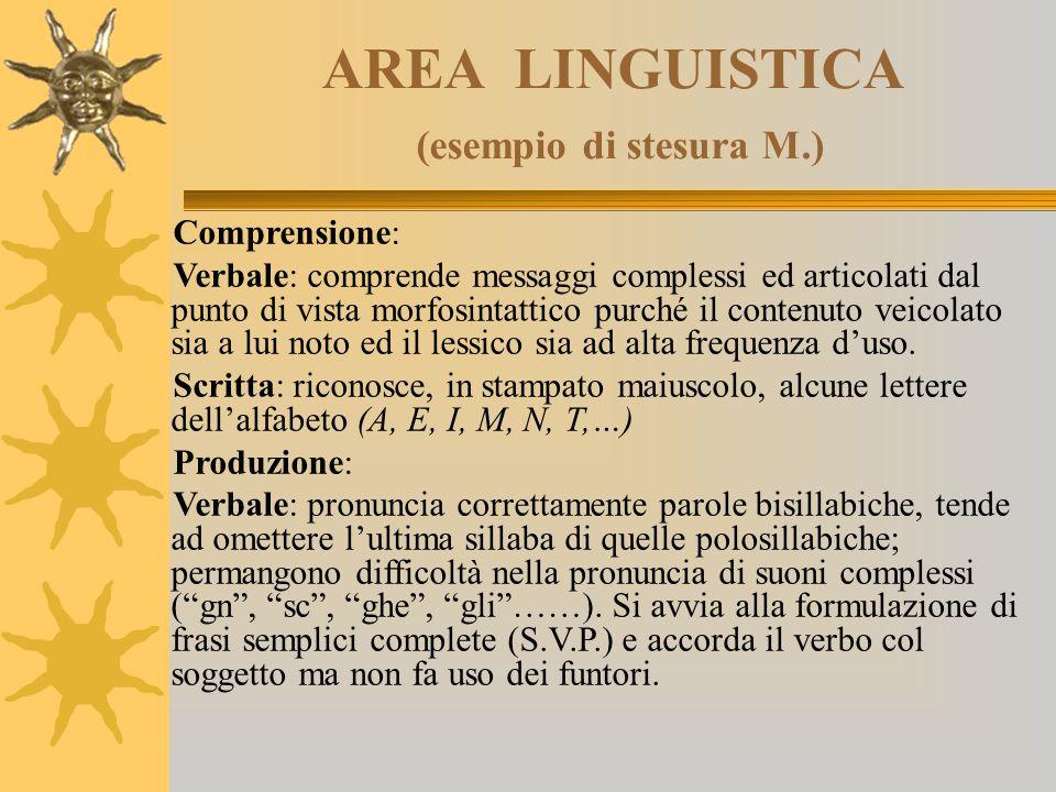 AREA LINGUISTICA (esempio di stesura M.)