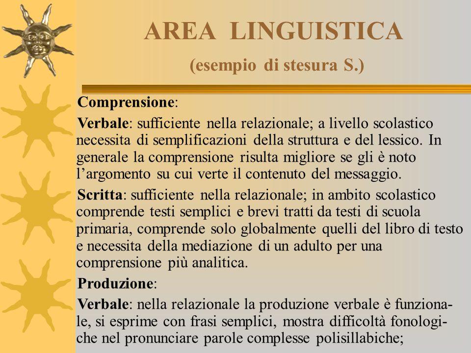 AREA LINGUISTICA (esempio di stesura S.)
