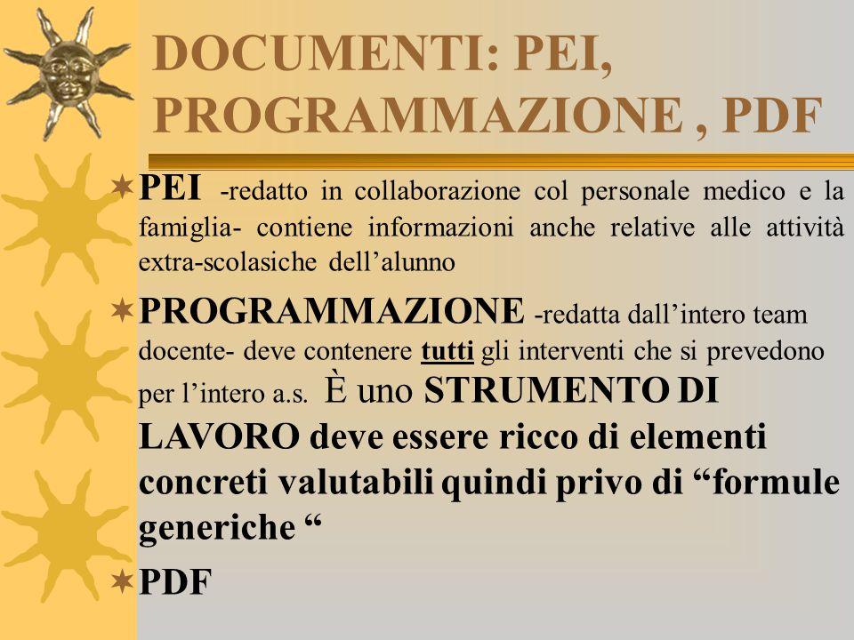 DOCUMENTI: PEI, PROGRAMMAZIONE , PDF