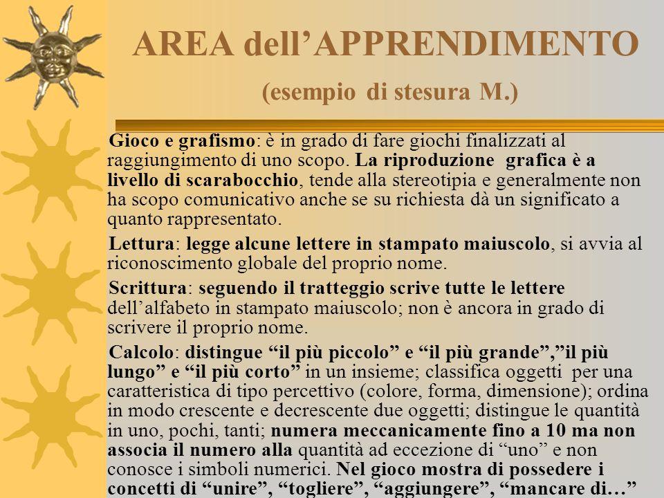 AREA dell'APPRENDIMENTO (esempio di stesura M.)