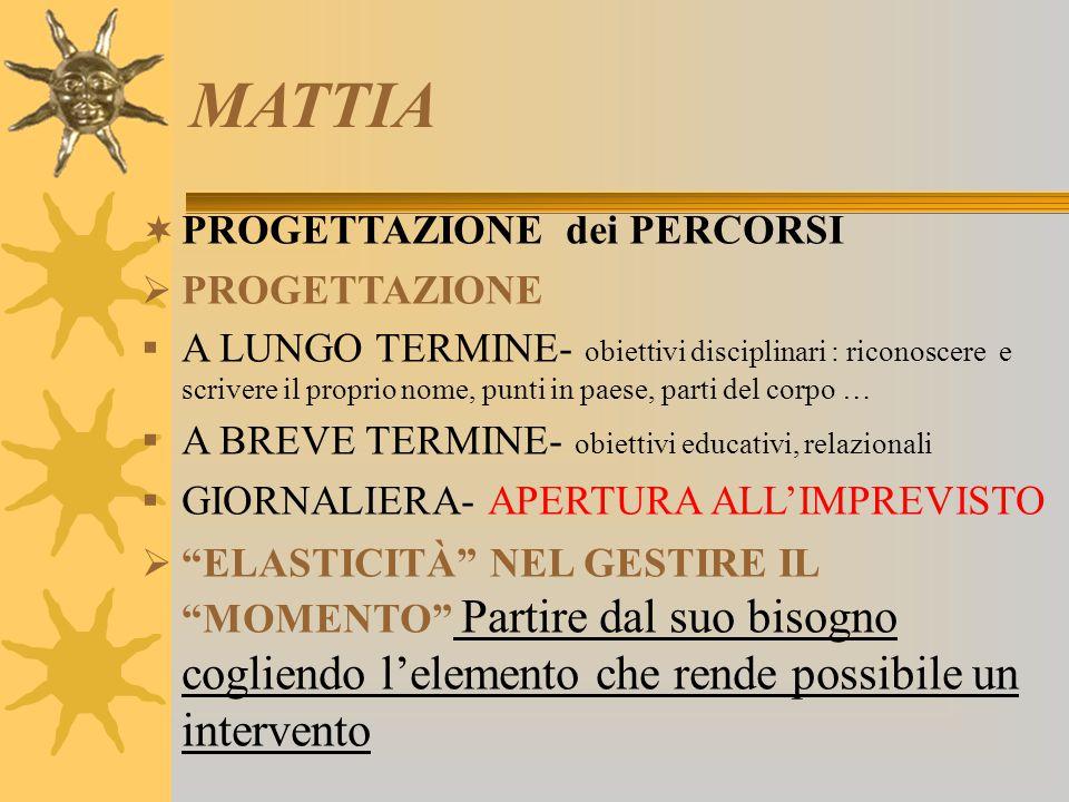 MATTIA PROGETTAZIONE dei PERCORSI PROGETTAZIONE